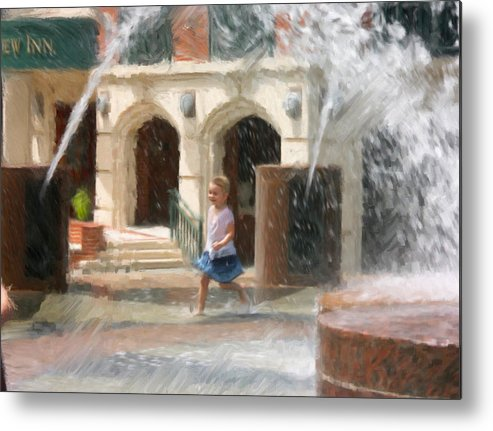 Child Metal Print featuring the painting Summer Fun In Charleston by Dwayne Graham
