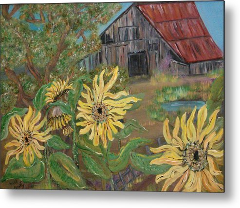 Farm House Metal Print featuring the painting Sunflower Farm by Mikki Alhart