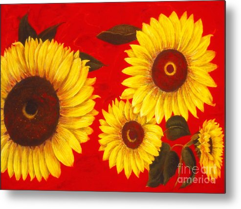 Flowers Metal Print featuring the painting Sunflowers IIi by Mary Erbert