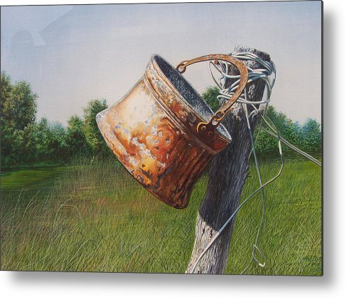 Landscape Metal Print featuring the painting Sunlit Copper by Arnold Hurley