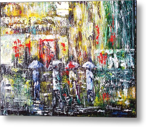 Art Metal Print featuring the painting Sunrise City Rain by Claude Marshall