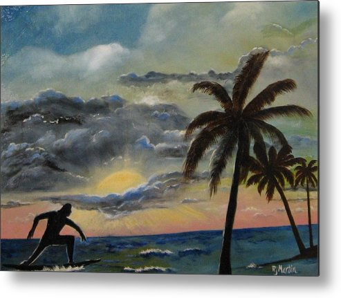Sunset Metal Print featuring the painting Surfers Sunset by Roberta Martin