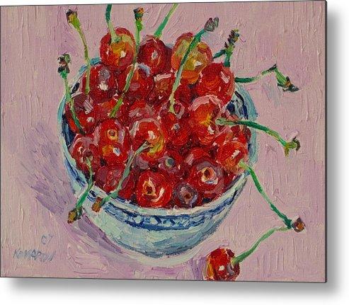 Cherries Metal Print featuring the painting Sweet Cherries by Vitali Komarov