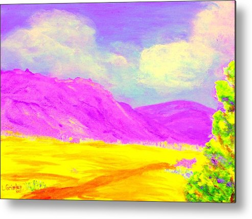 Mountains Metal Print featuring the painting Technicolor Desert by Lessandra Grimley