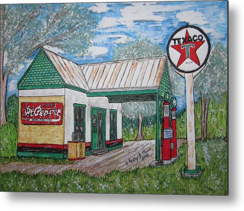 Nostalgia Metal Print featuring the painting Texaco Gas Station by Kathy Marrs Chandler