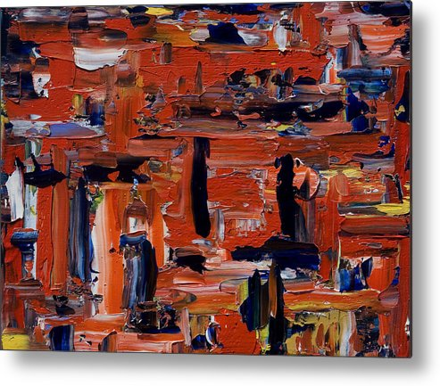 Oil Metal Print featuring the painting The Attic In Red by Brad Rickerby