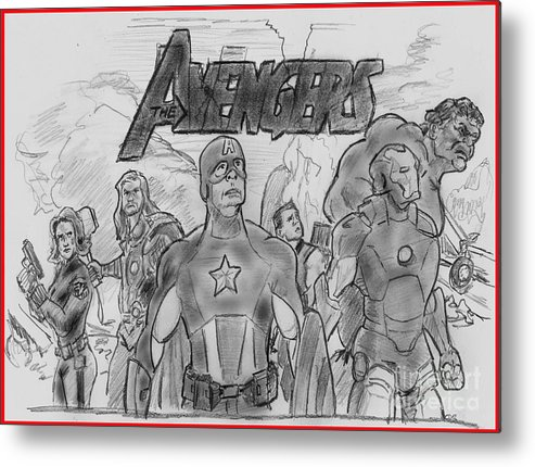Avengers Metal Print featuring the drawing The Avengers by Chris DelVecchio