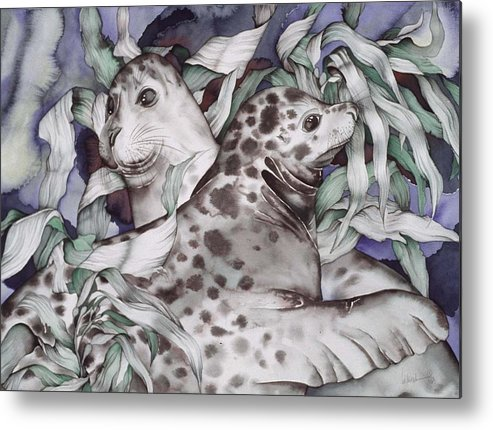 Sealife Metal Print featuring the painting The Couple by Liduine Bekman
