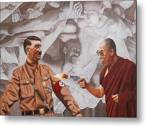 Dalai Lama Metal Print featuring the painting The Dalai Lama Shoots Adolph Hitler by Allan OMarra