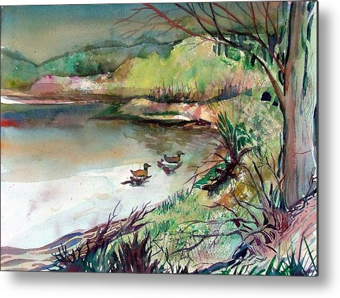 Ducks Metal Print featuring the painting The Duck Pond by Mindy Newman