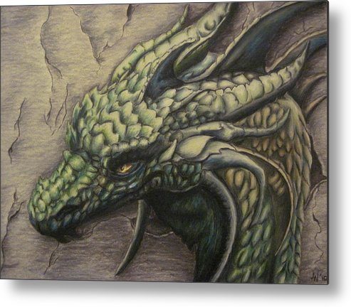 Dragon Metal Print featuring the drawing The Forest Dragon by Ashley Warbritton