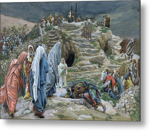 Tissot Metal Print featuring the painting The Holy Women Stand Far Off Beholding What Is Done by James Jacques Joseph Tissot