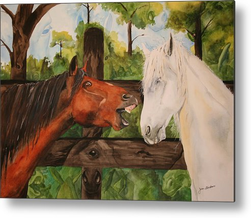 Horse Metal Print featuring the painting The Horse Whisperers by Jean Blackmer