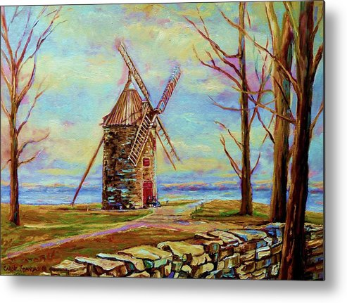 Ile Perrot Windmill Metal Print featuring the painting The Ile Perrot Windmill Moulin Ile Perrot Quebec by Carole Spandau