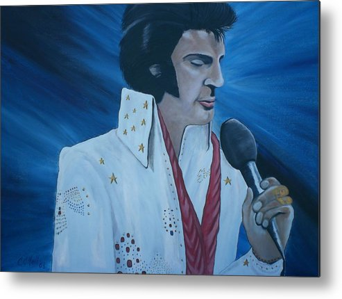 Elvis Metal Print featuring the painting the King by Colin O neill
