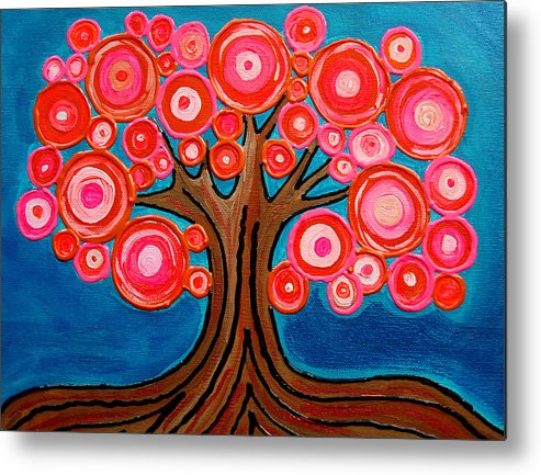 Tree Colorful Bright Funky Playful Pink Orange Abstract Metal Print featuring the painting The Lollipop Tree by Pamela Cisneros