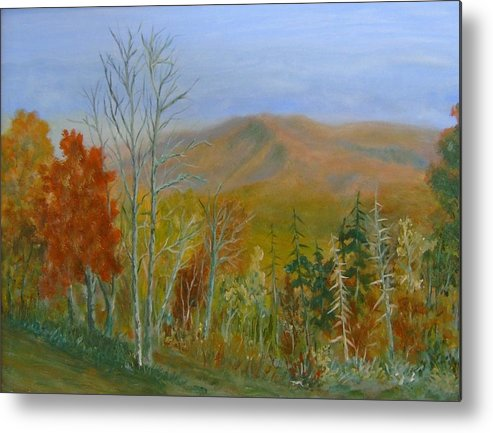Mountains; Trees; Fall Colors Metal Print featuring the painting The Parkway View by Ben Kiger