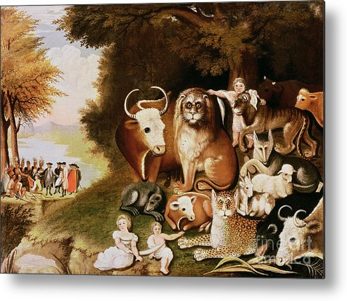 The Metal Print featuring the painting The Peaceable Kingdom by Edward Hicks