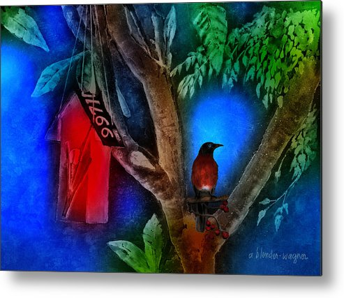 Bird Metal Print featuring the photograph The Red Birdhouse by Arline Wagner