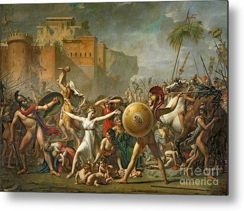 The Metal Print featuring the painting The Sabine Women by Jacques Louis David