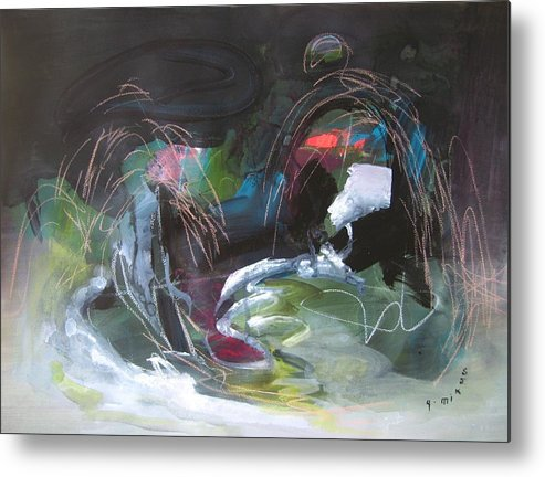 Abstract Metal Print featuring the painting The Secret Of The Shadow Original Abstract Colorful Landscape Painting For Sale Red Blue Green by Seon-Jeong Kim