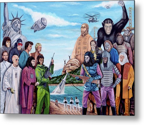 Planet Of The Apes Metal Print featuring the painting The World Of The Planet Of The Apes by Tony Banos