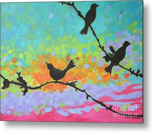 Urban Metal Print featuring the painting Three Birds by Karen Fields