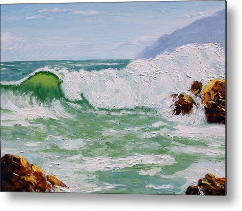 Sea Scape Metal Print featuring the painting Thundering Surf by Lorraine Foster