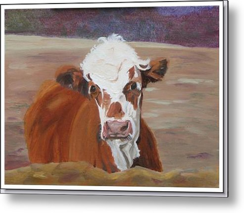 Cow Calf Farmscene Metal Print featuring the painting Tiffany by Paula Emery