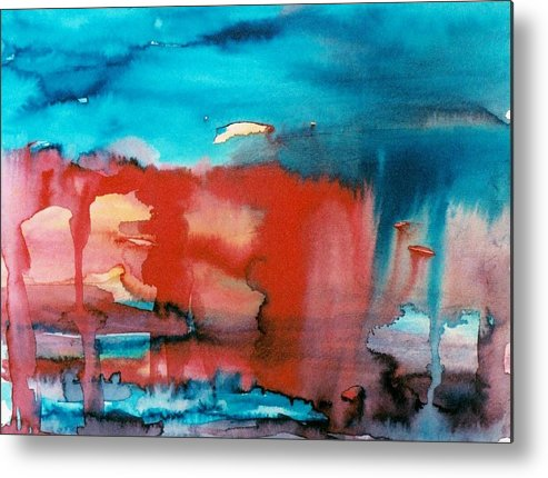 Abstract Metal Print featuring the painting Tornado Weather by Judith Redman