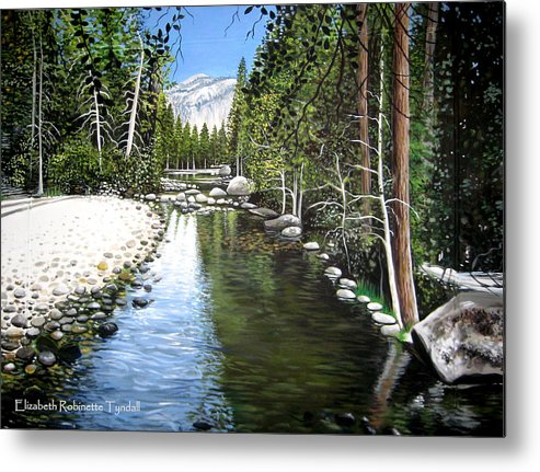 Trees Metal Print featuring the painting Tranquil Forest by Elizabeth Robinette Tyndall