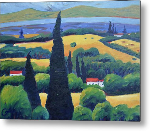 Tuscany Metal Print featuring the painting Tuscan Pines And South Bay by Gary Coleman