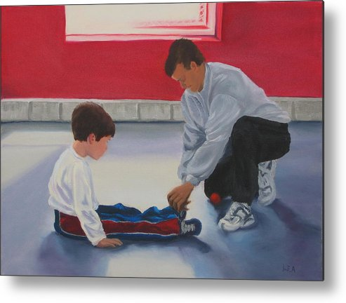 Child Metal Print featuring the painting Tying Shoes by Lea Novak