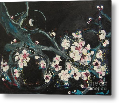 Ume Blossoms Paintings Metal Print featuring the painting Ume Blossoms2 by Seon-Jeong Kim
