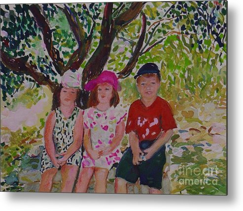 Portrait Children Original Illustration Leilaatkinson Metal Print featuring the painting Under The Shade Of A Tree by Leila Atkinson