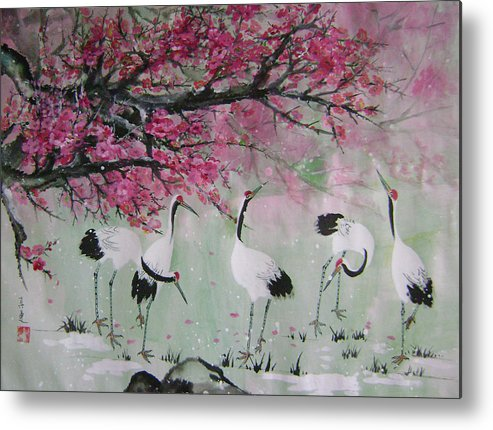 Birds Metal Print featuring the painting Under The Snow Plums 2 by Lian Zhen