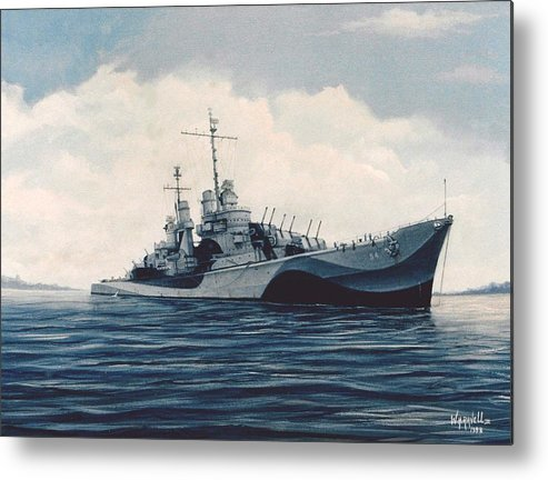 U. S. Navy Metal Print featuring the painting Uss Cruiser San Juan by William H RaVell III