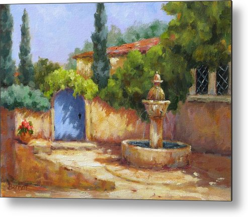 Fountain Metal Print featuring the painting Vaison La Fontaine by Barrett Edwards