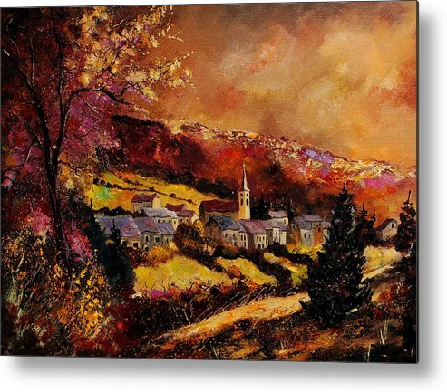 River Metal Print featuring the painting Vencimont Village Ardennes by Pol Ledent