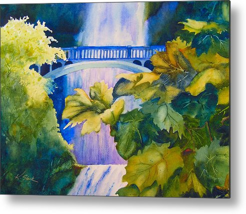Waterfall Metal Print featuring the painting View Of The Bridge by Karen Stark
