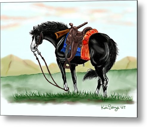Horses Metal Print featuring the digital art Waiting On The Boss by Kim Souza