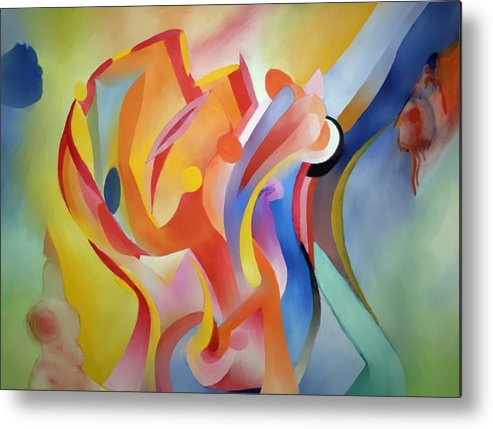 Abstract Metal Print featuring the painting Warping Reality by Peter Shor