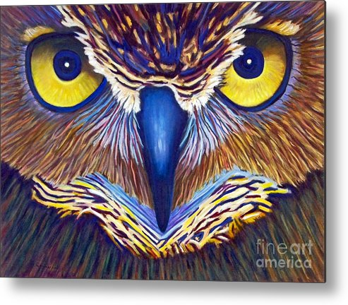 Owl Metal Print featuring the painting Watching by Brian Commerford