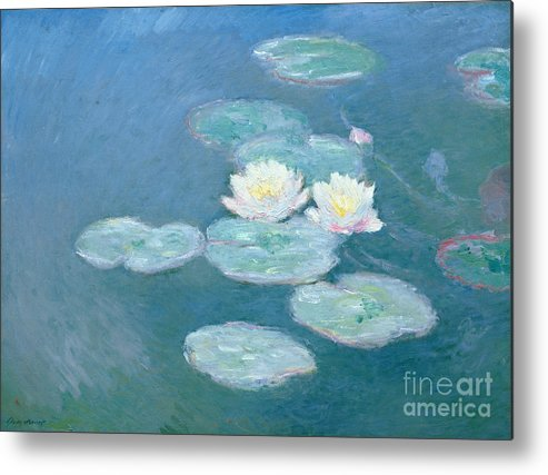 Waterlilies Metal Print featuring the painting Waterlilies Evening by Claude Monet