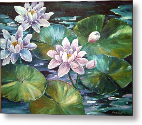 Oil Painting;waterlilies;water; Metal Print featuring the painting Waterlilies by Lois Mountz
