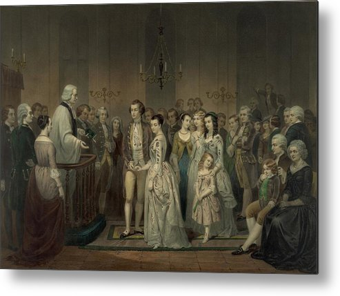 History Metal Print featuring the photograph Wedding Of George Washington And Martha by Everett