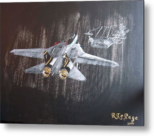 F 14 Metal Print featuring the painting Wet Night Landing by Richard Le Page