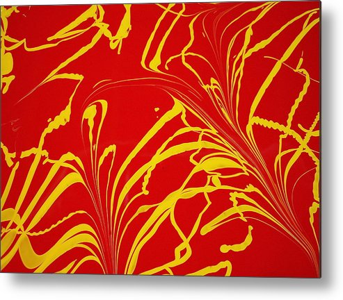 Abstract Metal Print featuring the painting Whispering The Fear by Gregory Young