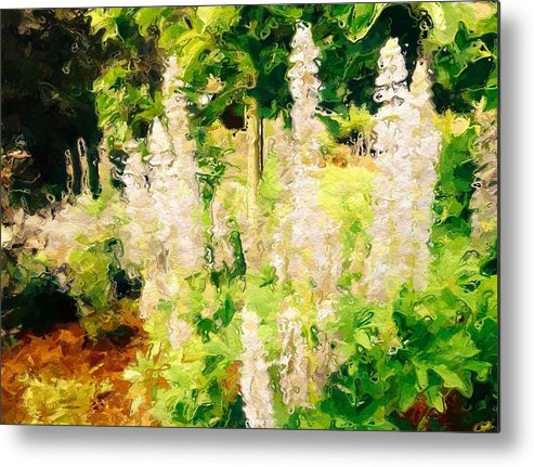 Abstract Metal Print featuring the photograph White Lupins by Rita Koivunen