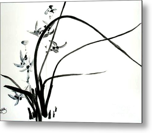Sumi-e Metal Print featuring the painting Wild Orchid by Sibby S